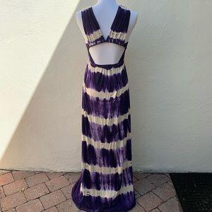 Gypsy 05 Dresses - Gypsy 05 Tie Dye Open Back Maxi Dress Purple